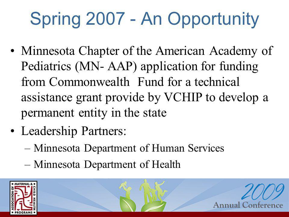 Spring 2007 - An Opportunity Minnesota Chapter of the American Academy of Pediatrics (MN- AAP) application for funding from Commonwealth Fund for a technical assistance grant provide by VCHIP to develop a permanent entity in the state Leadership Partners: –Minnesota Department of Human Services –Minnesota Department of Health