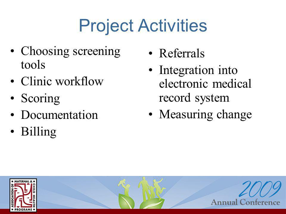 Project Activities Choosing screening tools Clinic workflow Scoring Documentation Billing Referrals Integration into electronic medical record system