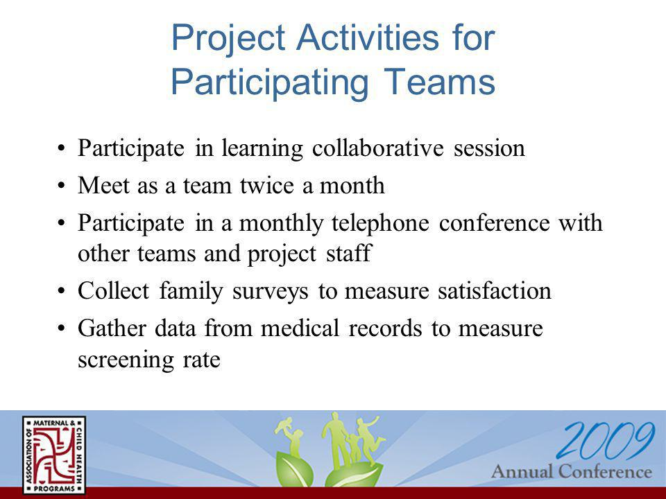 Project Activities for Participating Teams Participate in learning collaborative session Meet as a team twice a month Participate in a monthly telepho