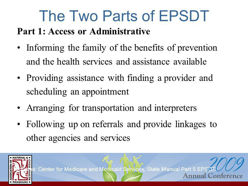 The Two Parts of EPSDT Part 1: Access or Administrative Informing the family of the benefits of prevention and the health services and assistance available Providing assistance with finding a provider and scheduling an appointment Arranging for transportation and interpreters Following up on referrals and provide linkages to other agencies and services Sources: Center for Medicare and Medicaid Services, State Manual Part 5 EPSDT.