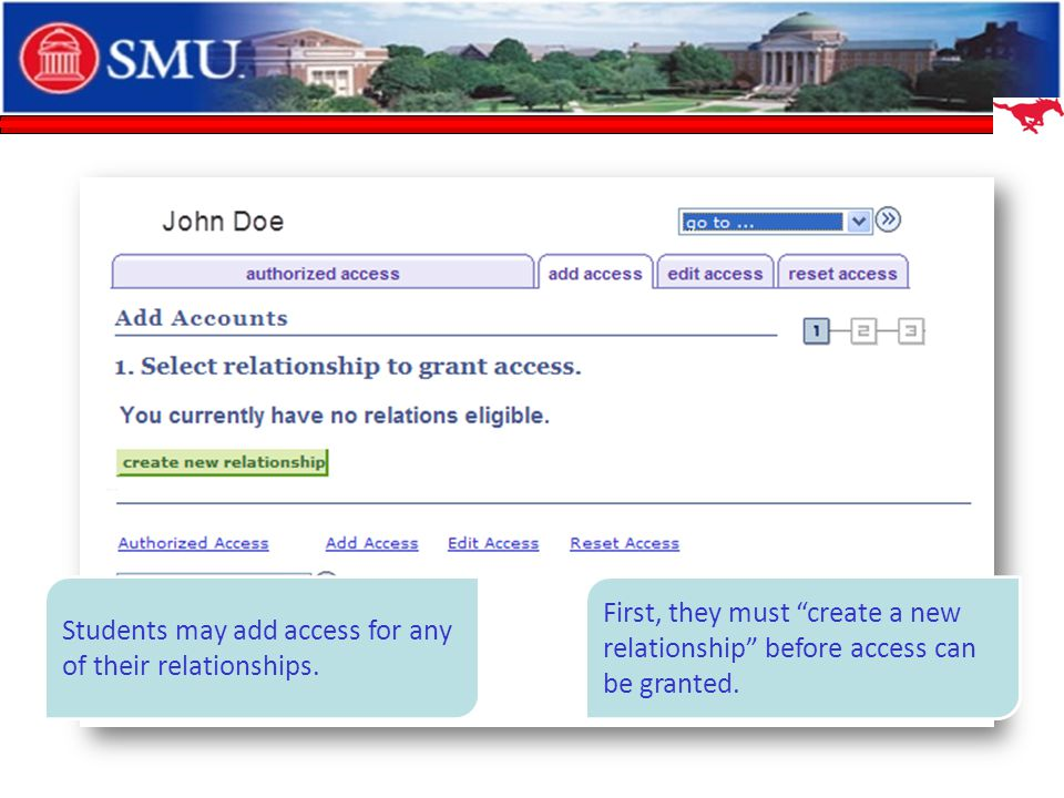 Students may add access for any of their relationships.