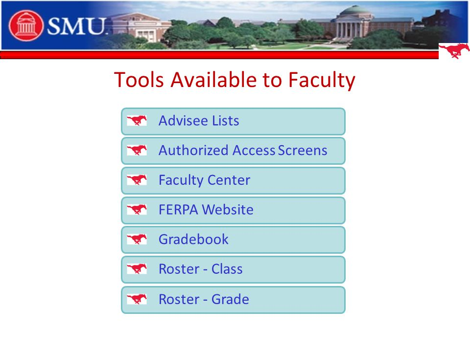 Tools Available to Faculty Advisee Lists Authorized Access Screens Faculty Center FERPA Website Gradebook Roster - Class Roster - Grade