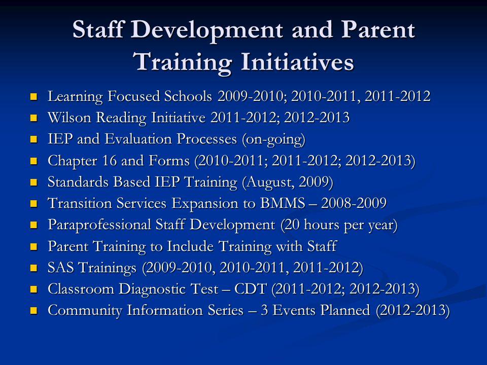 Staff Development and Parent Training Initiatives Learning Focused Schools 2009-2010; 2010-2011, 2011-2012 Learning Focused Schools 2009-2010; 2010-20