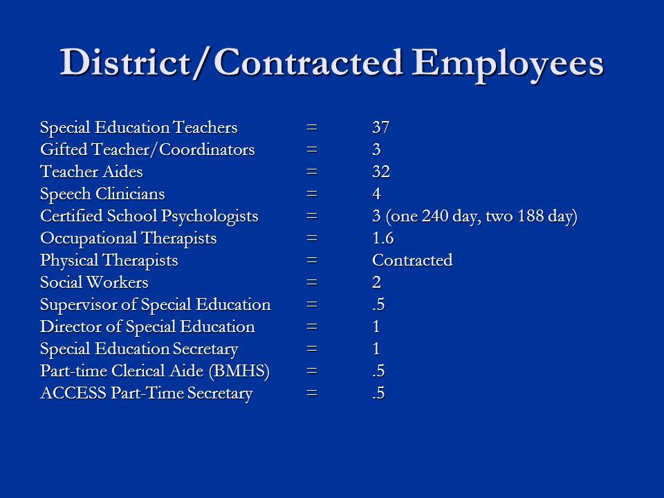 District/Contracted Employees Special Education Teachers =37 Gifted Teacher/Coordinators=3 Teacher Aides=32 Speech Clinicians=4 Certified School Psych