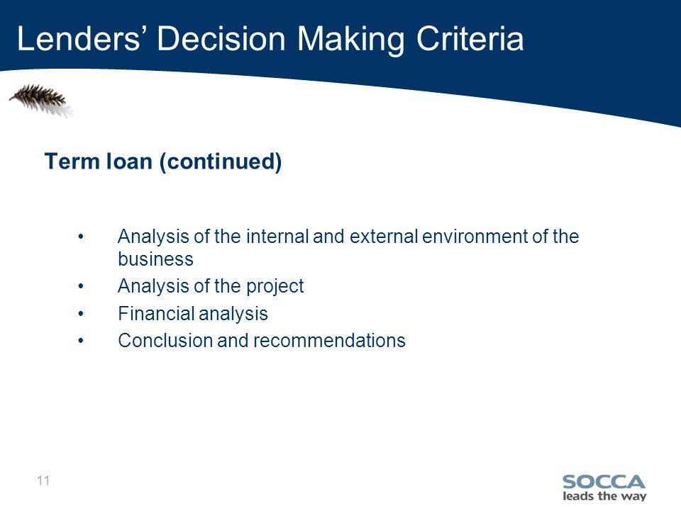 11 Term loan (continued) Analysis of the internal and external environment of the business Analysis of the project Financial analysis Conclusion and recommendations Lenders Decision Making Criteria