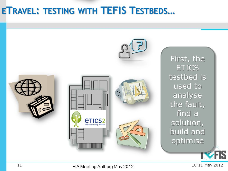 11 FIA Meeting Aalborg May 2012 E T RAVEL : TESTING WITH TEFIS T ESTBEDS … May 2012 First, the ETICS testbed is used to analyse the fault, find a solution, build and optimise L OG D ATA