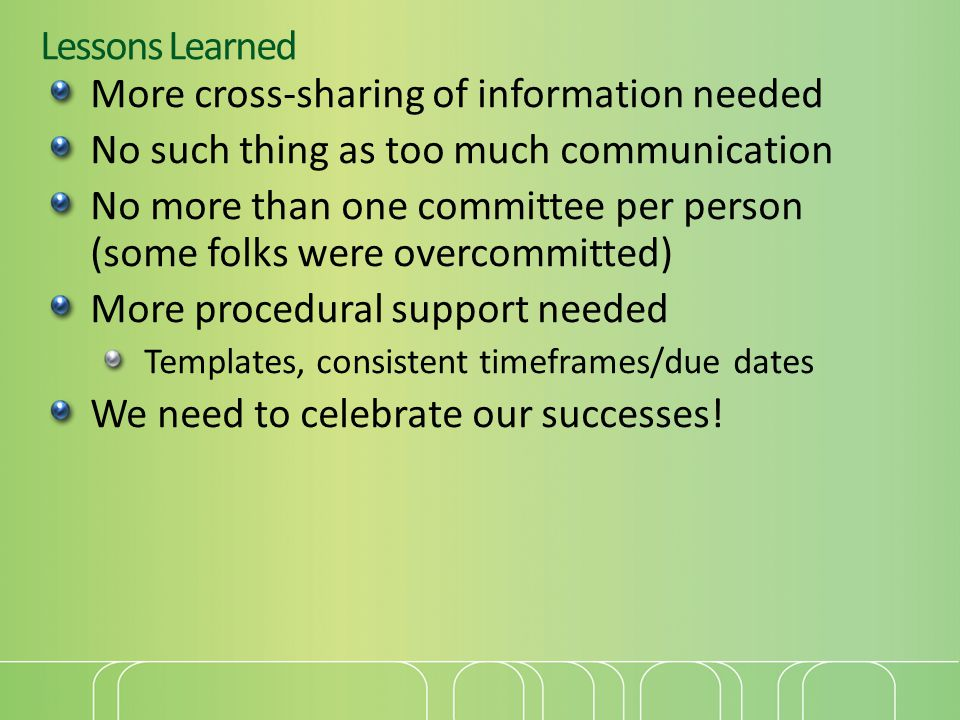 Lessons Learned More cross-sharing of information needed No such thing as too much communication No more than one committee per person (some folks were overcommitted) More procedural support needed Templates, consistent timeframes/due dates We need to celebrate our successes!