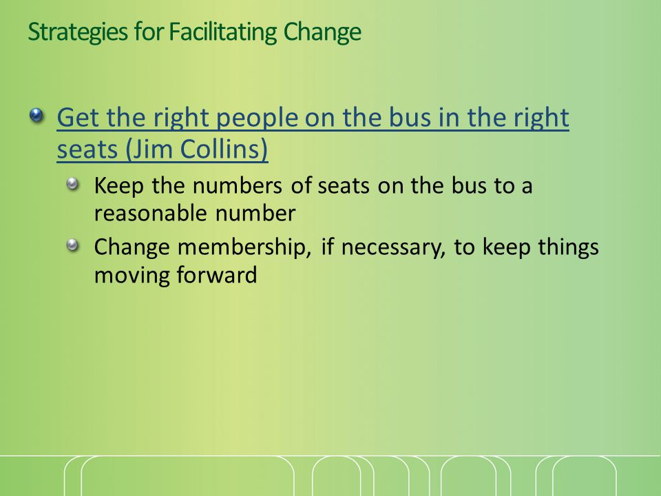 Strategies for Facilitating Change Get the right people on the bus in the right seats (Jim Collins) Keep the numbers of seats on the bus to a reasonable number Change membership, if necessary, to keep things moving forward