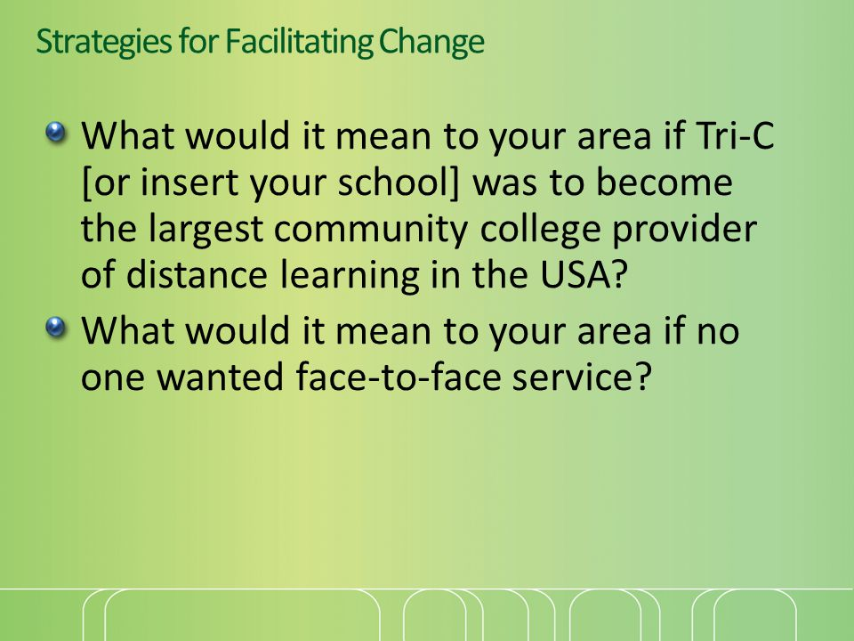 Strategies for Facilitating Change What would it mean to your area if Tri-C [or insert your school] was to become the largest community college provider of distance learning in the USA.