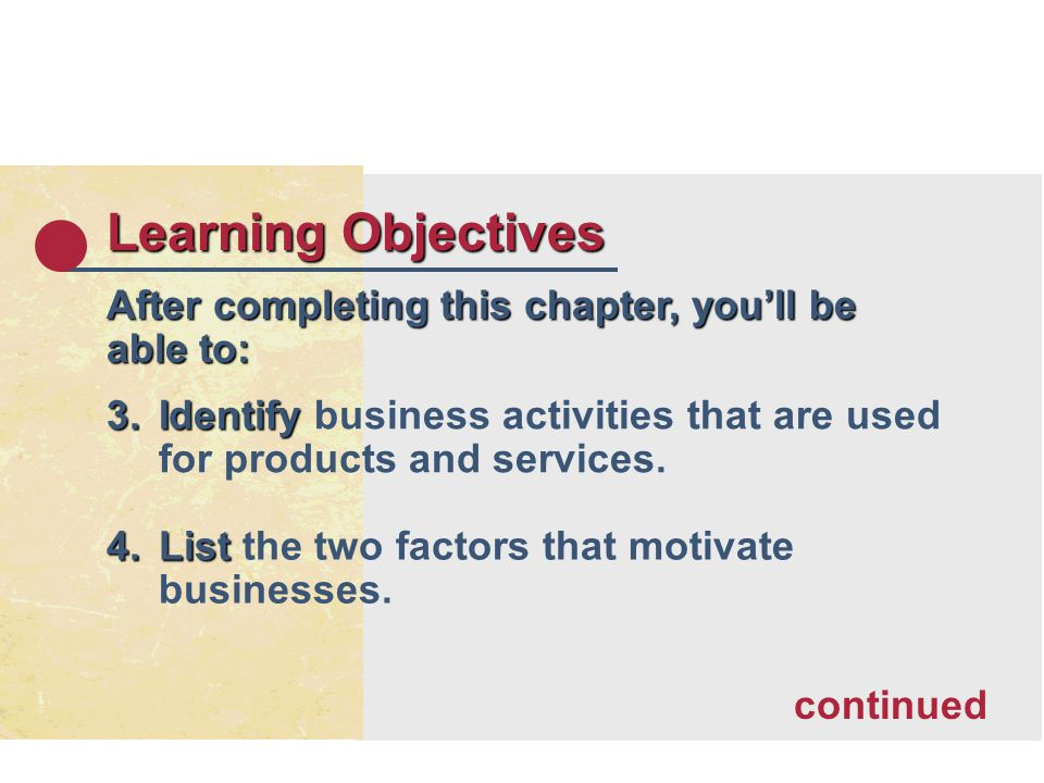 Learning Objectives After completing this chapter, youll be able to: 3.Identify 3.Identify business activities that are used for products and services.