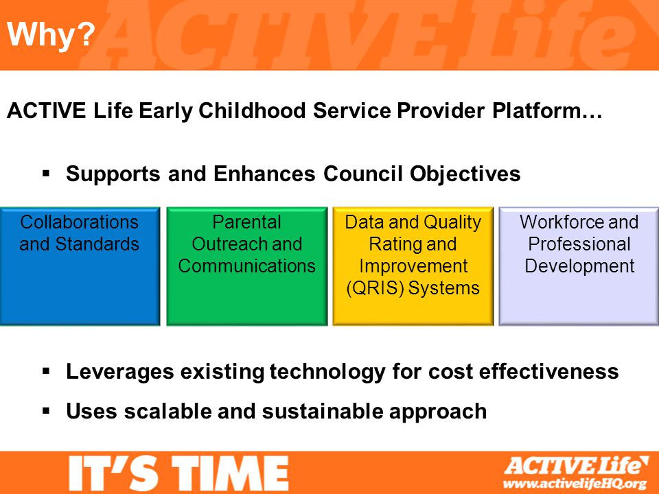 Why? Supports and Enhances Council Objectives Leverages existing technology for cost effectiveness Uses scalable and sustainable approach ACTIVE Life
