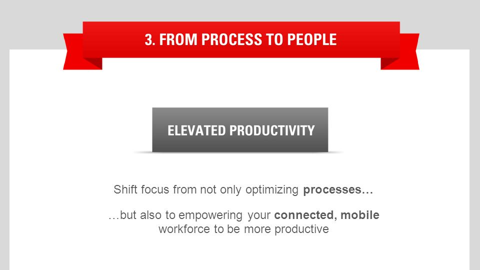 Shift focus from not only optimizing processes… …but also to empowering your connected, mobile workforce to be more productive