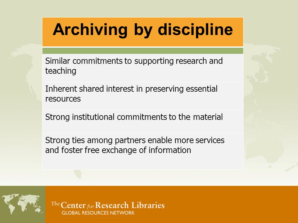 Project Goals Focus on legacy print collections in the fields of Agriculture and Law (Scope) Create consensus-based cooperative archiving on a national level Create replicable models and a sustainable framework for archiving in other domains