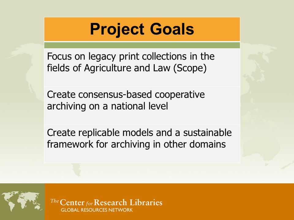 Formal service agreements Specify long-term archiving commitments Define acceptable preservation conditions Agree on resource sharing services Outcomes