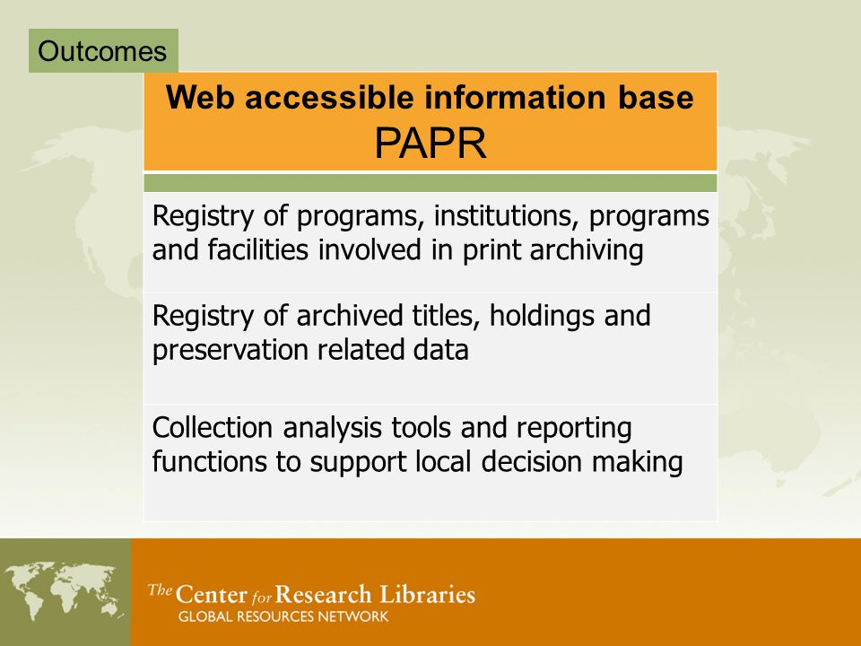 Web accessible information base PAPR Registry of programs, institutions, programs and facilities involved in print archiving Registry of archived titles, holdings and preservation related data Collection analysis tools and reporting functions to support local decision making Outcomes