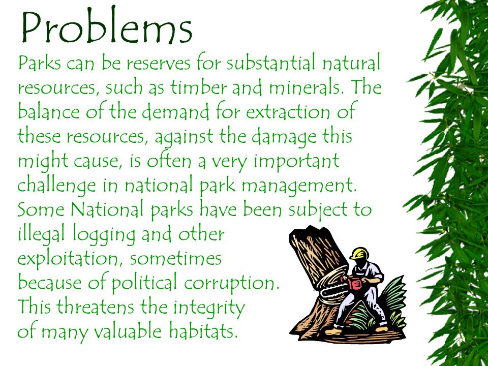 Problems Parks can be reserves for substantial natural resources, such as timber and minerals.