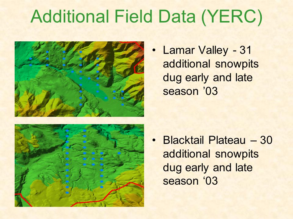 Additional Field Data (YERC) Lamar Valley - 31 additional snowpits dug early and late season 03 Blacktail Plateau – 30 additional snowpits dug early and late season 03