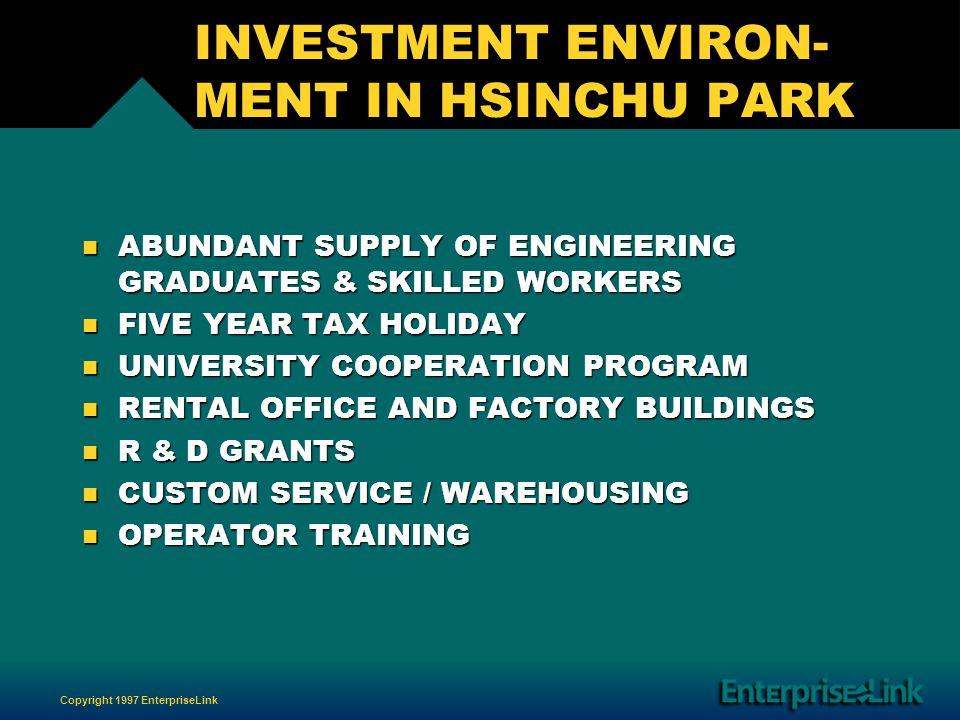 Copyright 1997 EnterpriseLink INVESTMENT ENVIRON- MENT IN HSINCHU PARK n ABUNDANT SUPPLY OF ENGINEERING GRADUATES & SKILLED WORKERS n FIVE YEAR TAX HOLIDAY n UNIVERSITY COOPERATION PROGRAM n RENTAL OFFICE AND FACTORY BUILDINGS n R & D GRANTS n CUSTOM SERVICE / WAREHOUSING n OPERATOR TRAINING