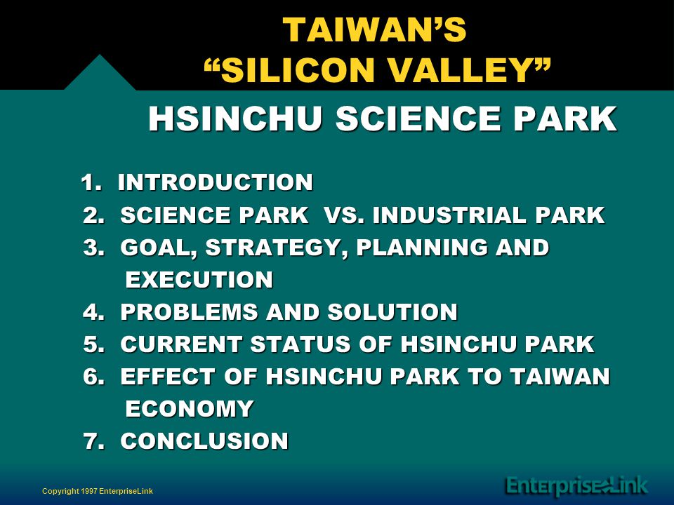 Copyright 1997 EnterpriseLink TAIWANS SILICON VALLEY HSINCHU SCIENCE PARK HSINCHU SCIENCE PARK 1.