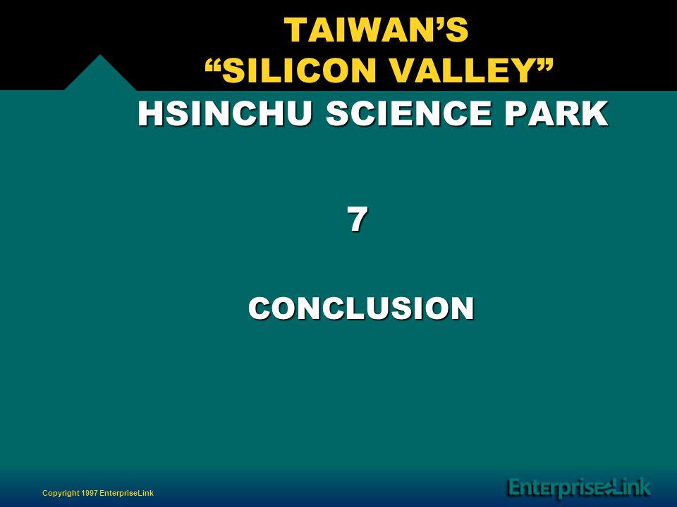 Copyright 1997 EnterpriseLink TAIWANS SILICON VALLEY HSINCHU SCIENCE PARK HSINCHU SCIENCE PARK 7 CONCLUSION CONCLUSION
