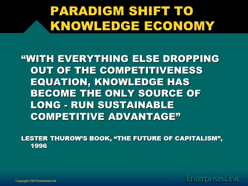 Copyright 1997 EnterpriseLink PARADIGM SHIFT TO KNOWLEDGE ECONOMY WITH EVERYTHING ELSE DROPPING OUT OF THE COMPETITIVENESS EQUATION, KNOWLEDGE HAS BECOME THE ONLY SOURCE OF LONG - RUN SUSTAINABLE COMPETITIVE ADVANTAGE LESTER THUROWS BOOK, THE FUTURE OF CAPITALISM, 1996