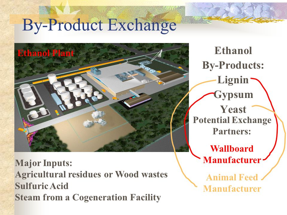 By-Product Exchange Ethanol By-Products: Lignin Gypsum Yeast Ethanol Plant Major Inputs: Agricultural residues or Wood wastes Sulfuric Acid Steam from a Cogeneration Facility Potential Exchange Partners: Wallboard Manufacturer Animal Feed Manufacturer