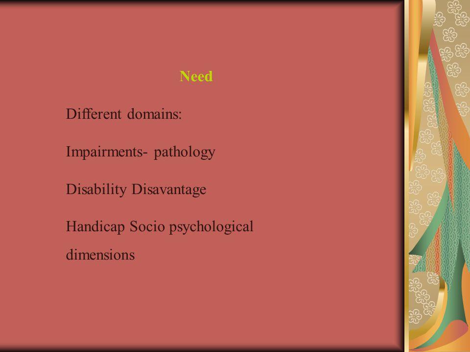Need Different domains: Impairments- pathology Disability Disavantage Handicap Socio psychological dimensions