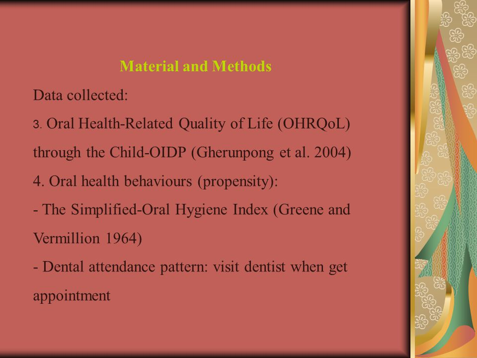 Material and Methods Data collected: 3.