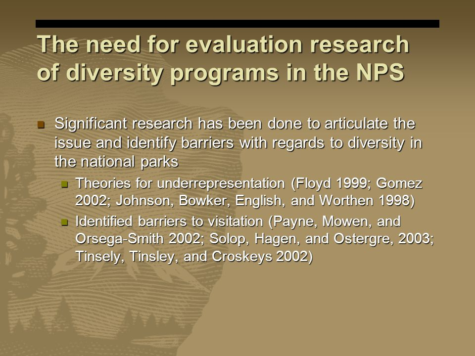 The need for evaluation research of diversity programs in the NPS Significant research has been done to articulate the issue and identify barriers with regards to diversity in the national parks Significant research has been done to articulate the issue and identify barriers with regards to diversity in the national parks Theories for underrepresentation (Floyd 1999; Gomez 2002; Johnson, Bowker, English, and Worthen 1998) Theories for underrepresentation (Floyd 1999; Gomez 2002; Johnson, Bowker, English, and Worthen 1998) Identified barriers to visitation (Payne, Mowen, and Orsega-Smith 2002; Solop, Hagen, and Ostergre, 2003; Tinsely, Tinsley, and Croskeys 2002) Identified barriers to visitation (Payne, Mowen, and Orsega-Smith 2002; Solop, Hagen, and Ostergre, 2003; Tinsely, Tinsley, and Croskeys 2002)