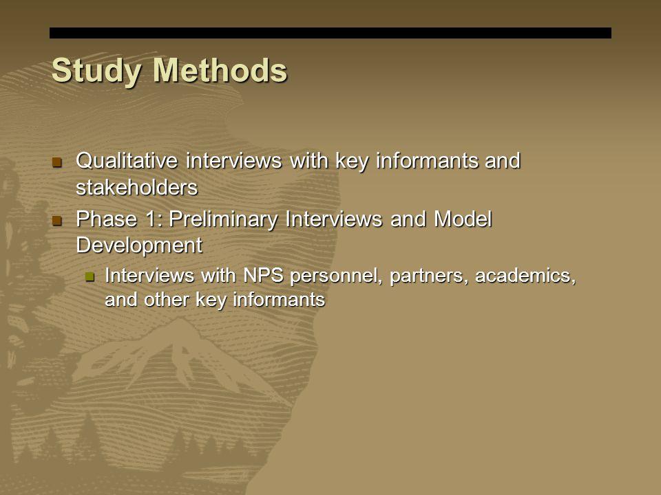 Study Methods Qualitative interviews with key informants and stakeholders Qualitative interviews with key informants and stakeholders Phase 1: Prelimi