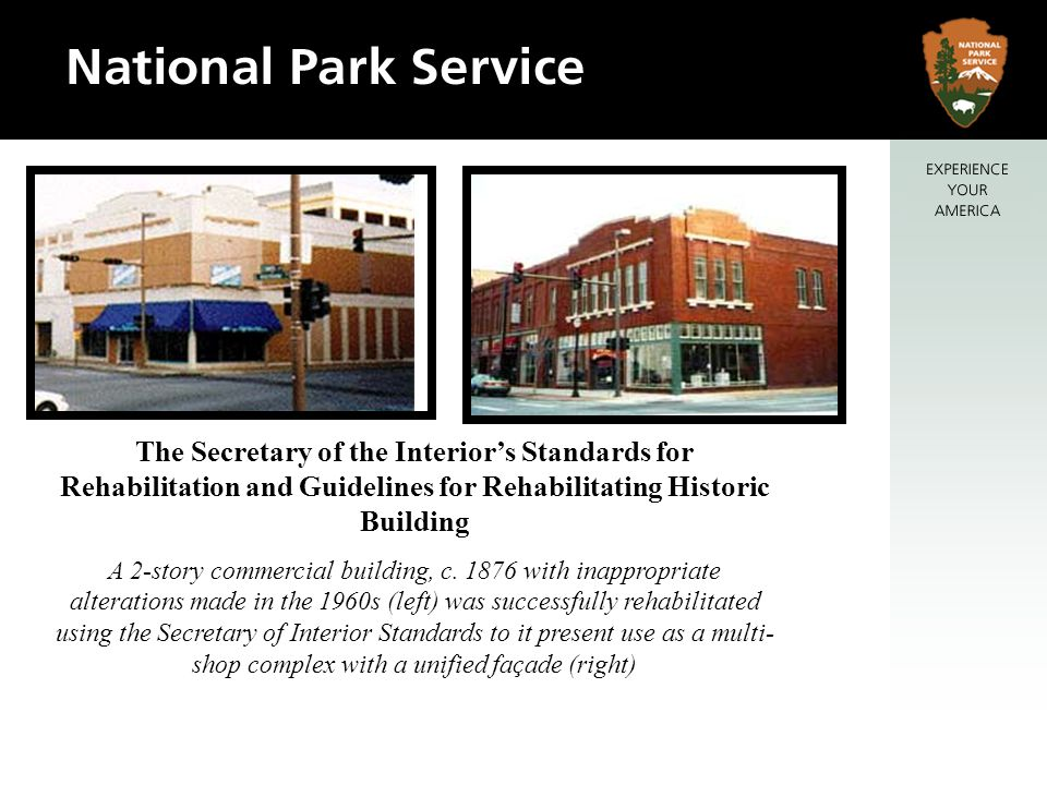 The Secretary of the Interiors Standards for Rehabilitation and Guidelines for Rehabilitating Historic Building A 2-story commercial building, c.