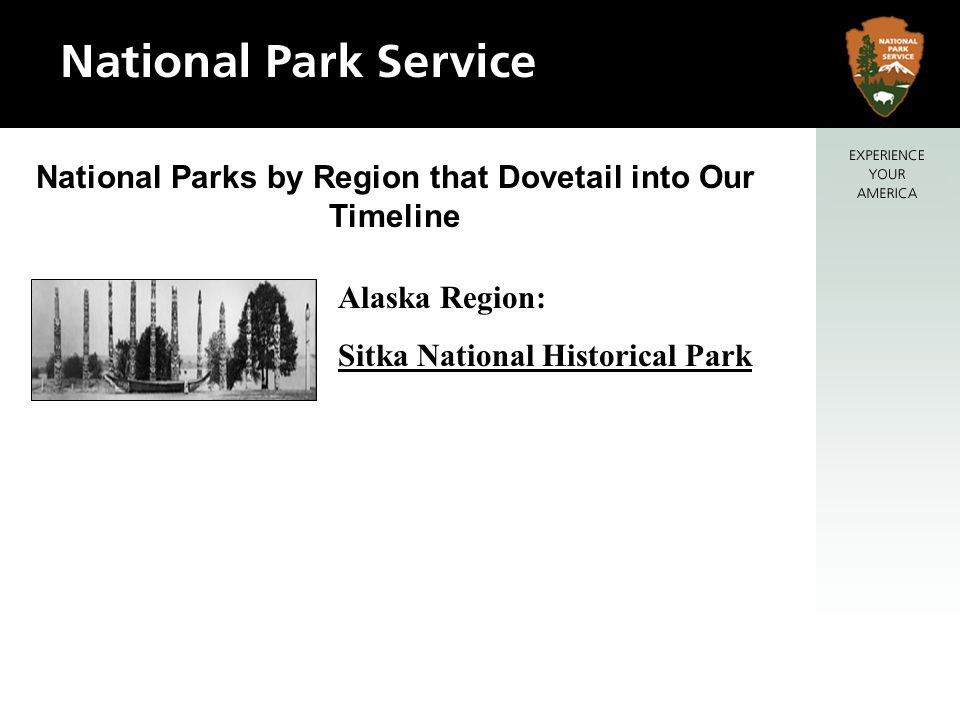 National Parks by Region that Dovetail into Our Timeline Alaska Region: Sitka National Historical Park