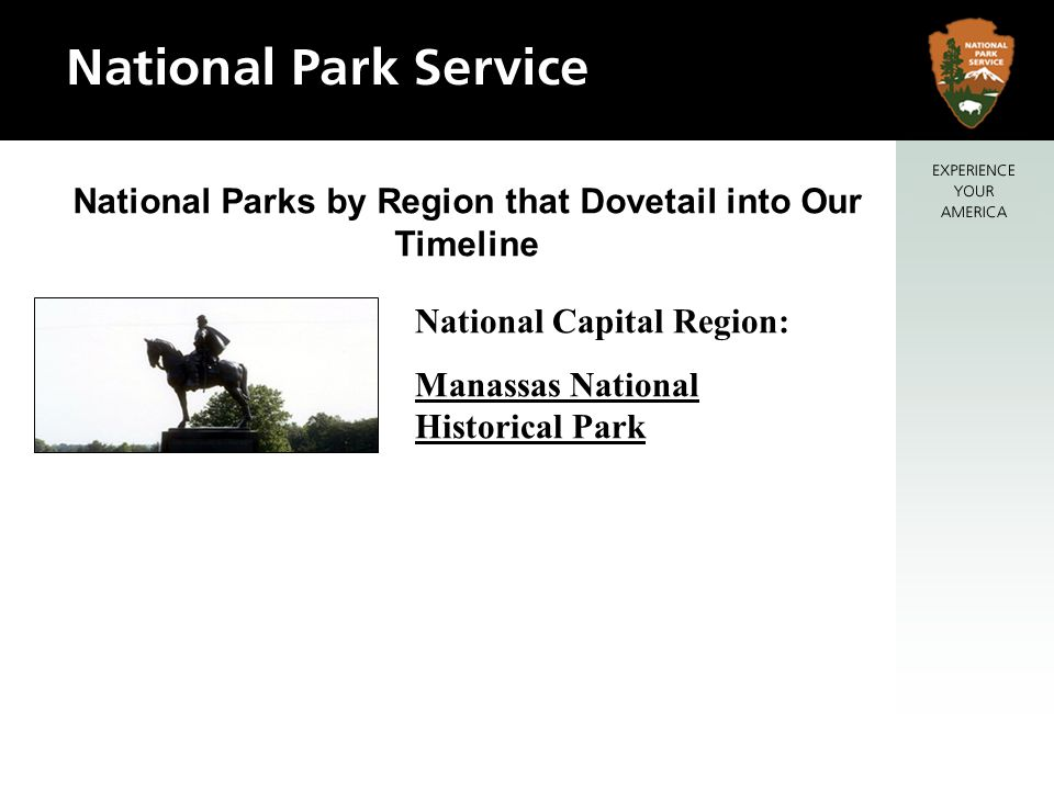 National Parks by Region that Dovetail into Our Timeline National Capital Region: Manassas National Historical Park