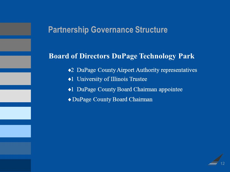 Partnership Governance Structure 2 DuPage County Airport Authority representatives 1 University of Illinois Trustee 1 DuPage County Board Chairman app
