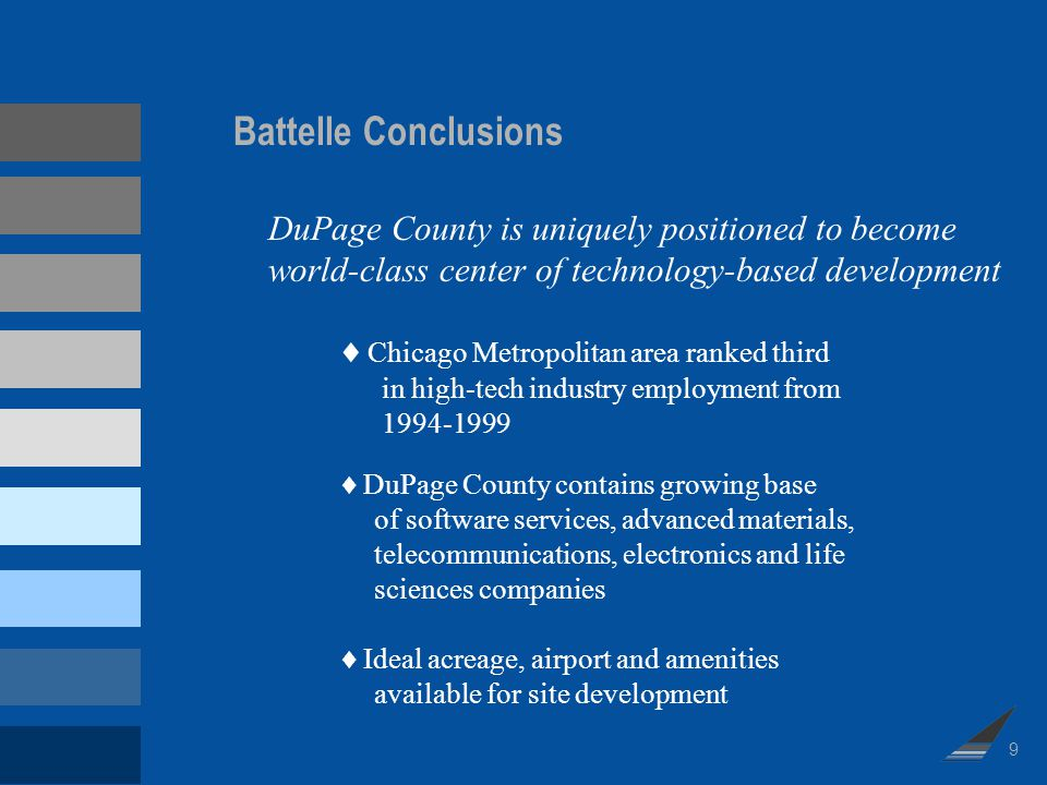 Battelle Conclusions (cont.) Availability of a highly skilled, well educated workforce Access to cultural and recreational amenities High quality of life Regions colleges and universities graduate students with technical and engineering degrees Demand exists for research development office and lab space No research parks in DuPage region with similar capacity potential or research focus 10