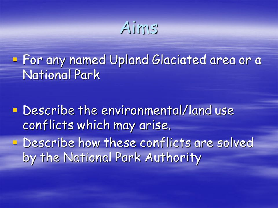 Tourist/Land use related Conflicts Local Residents Environmentalists/National Park Authority FarmersTourists Tourists