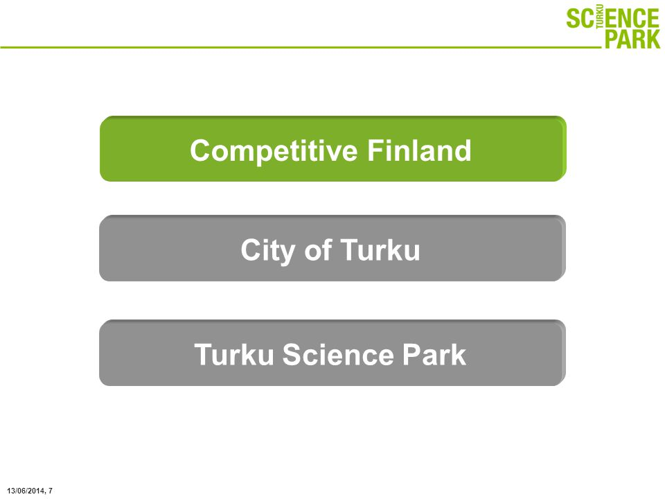 13/06/2014, 38 To promote businesses based on local university knowledge Mission Regional development company and neutral intermediate between research, business and the public sector Role Turku Science Park Ltd