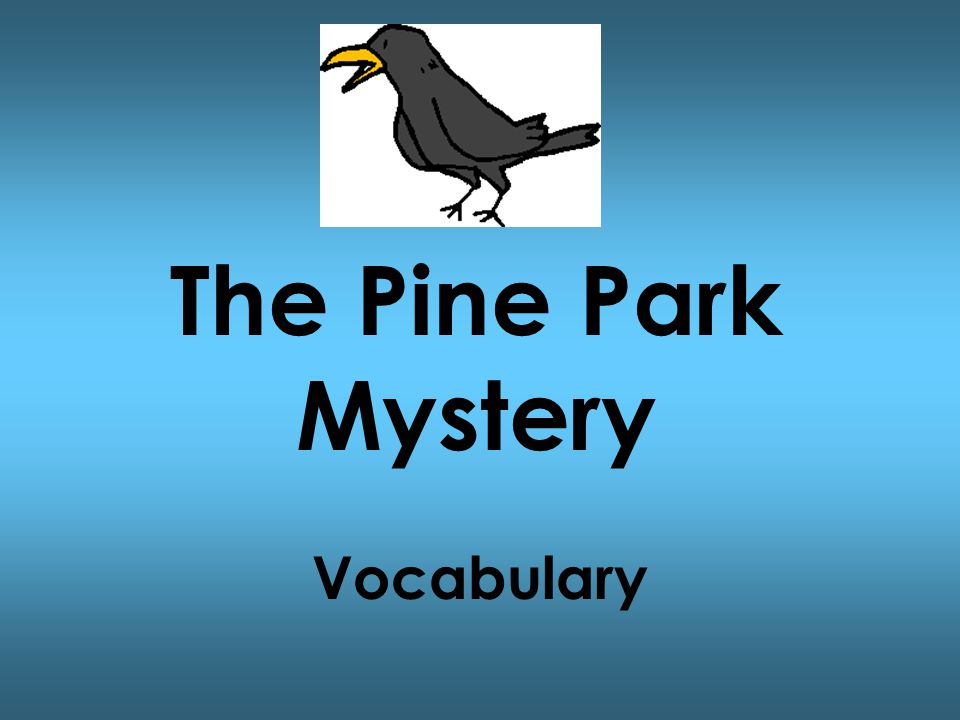 The Pine Park Mystery Vocabulary
