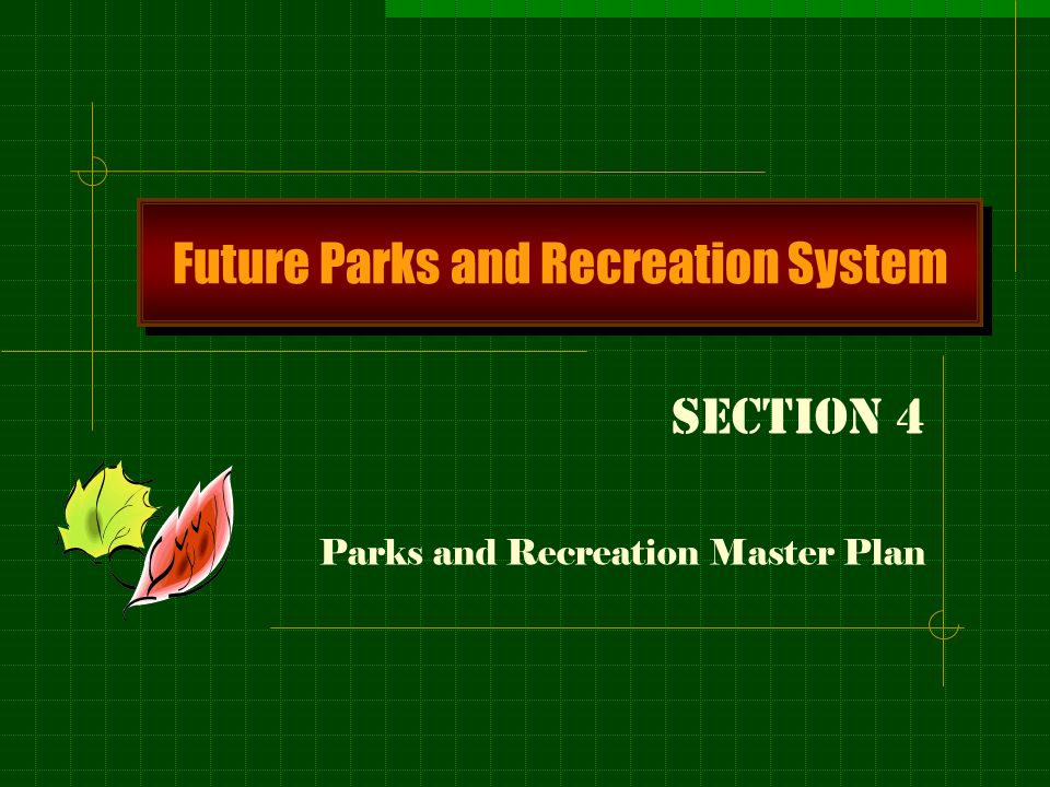 A Plan for Maitlands future Park System Focus is on how individual parks will function in the system