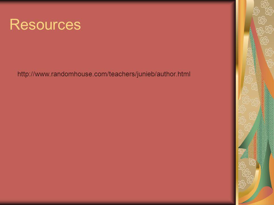 Resources http://www.randomhouse.com/teachers/junieb/author.html