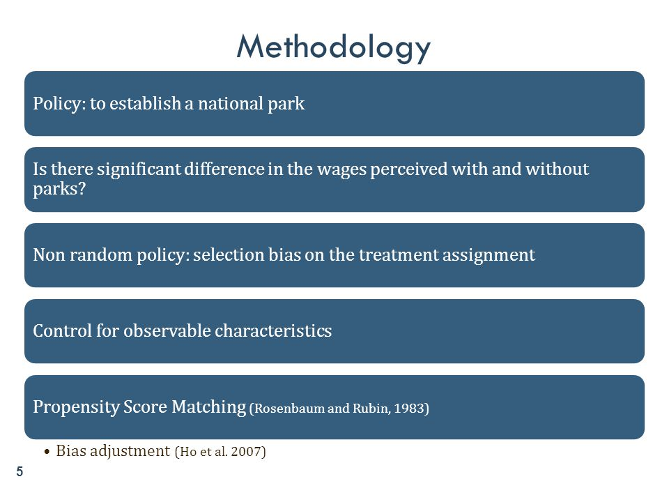 5 Methodology Policy: to establish a national park Is there significant difference in the wages perceived with and without parks? Non random policy: s