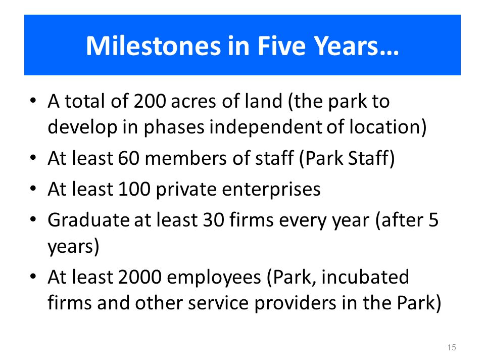 Milestones in Five Years… A total of 200 acres of land (the park to develop in phases independent of location) At least 60 members of staff (Park Staf