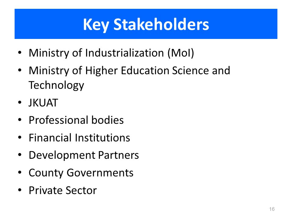 Key Stakeholders Ministry of Industrialization (MoI) Ministry of Higher Education Science and Technology JKUAT Professional bodies Financial Instituti
