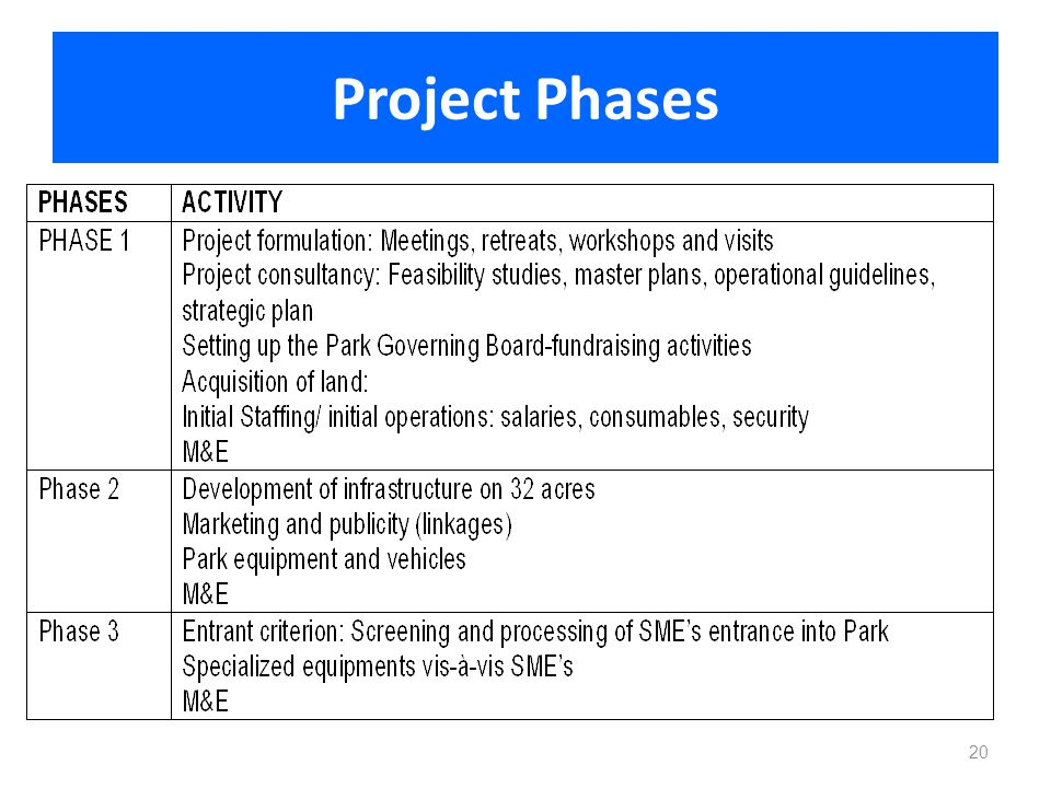 Project Phases 20