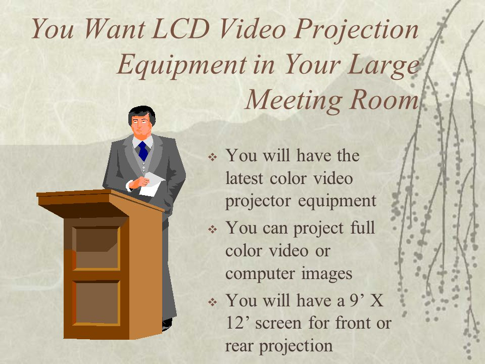 You Want LCD Video Projection Equipment in Your Large Meeting Room You will have the latest color video projector equipment You can project full color video or computer images You will have a 9 X 12 screen for front or rear projection