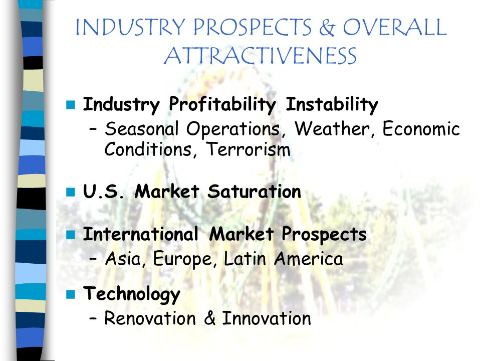 INDUSTRY PROSPECTS & OVERALL ATTRACTIVENESS Industry Profitability Instability –Seasonal Operations, Weather, Economic Conditions, Terrorism U.S. Mark