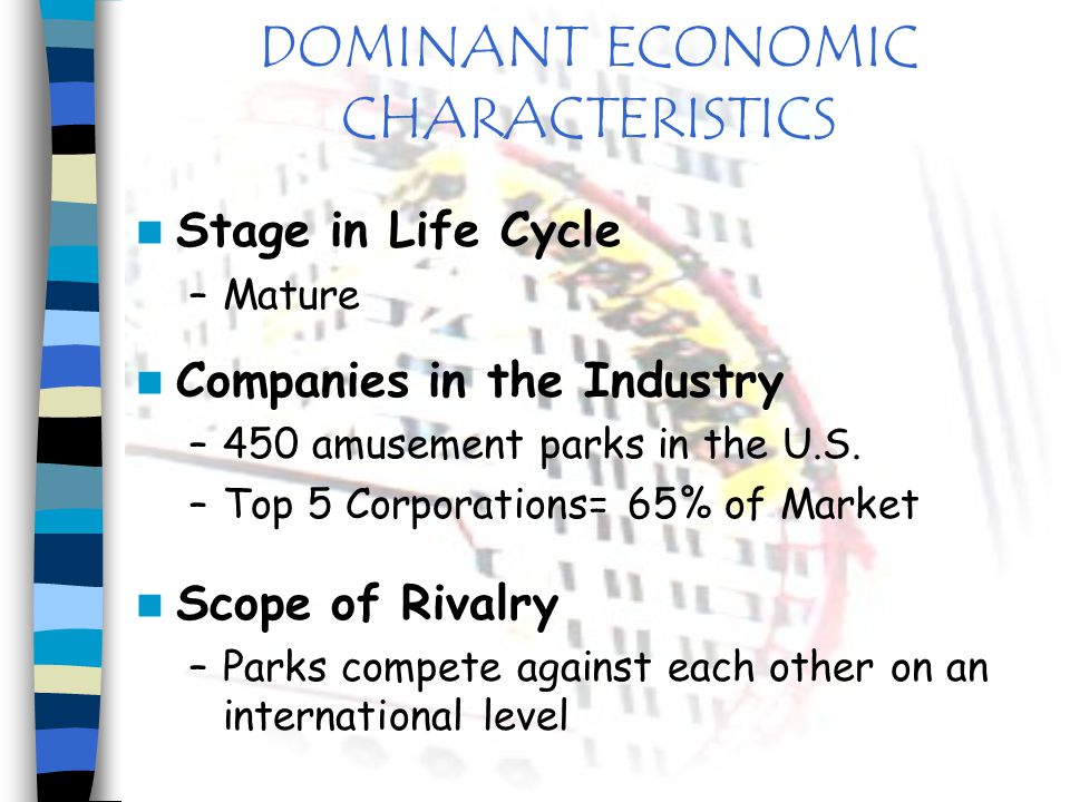 DOMINANT ECONOMIC CHARACTERISTICS Market Size –$9.6 Billion in Revenues –319 Million Park Attendance Market Growth Rate –2001= 1% Increase –Projected Decrease in Attendance and Revenues for 2002