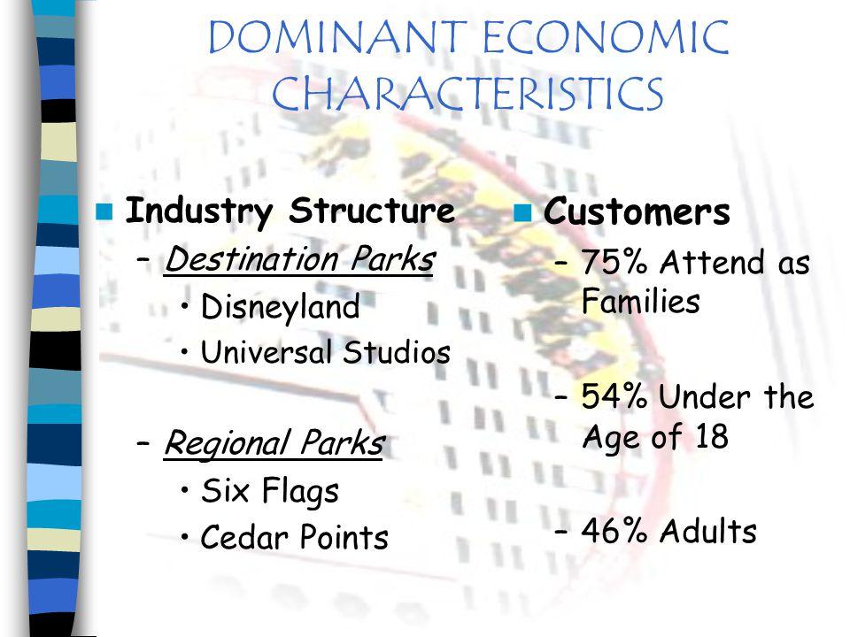 DOMINANT ECONOMIC CHARACTERISTICS Industry Structure –Destination Parks Disneyland Universal Studios –Regional Parks Six Flags Cedar Points Customers