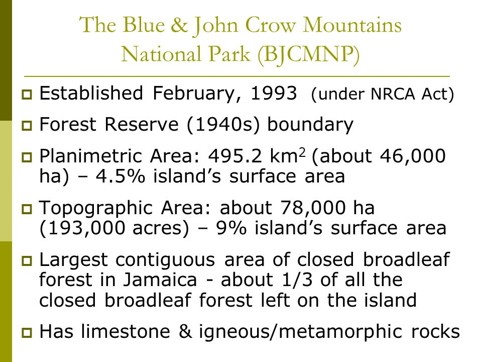 The Blue & John Crow Mountains National Park (BJCMNP) Established February, 1993 (under NRCA Act) Forest Reserve (1940s) boundary Planimetric Area: 495.2 km 2 (about 46,000 ha) – 4.5% islands surface area Topographic Area: about 78,000 ha (193,000 acres) – 9% islands surface area Largest contiguous area of closed broadleaf forest in Jamaica - about 1/3 of all the closed broadleaf forest left on the island Has limestone & igneous/metamorphic rocks