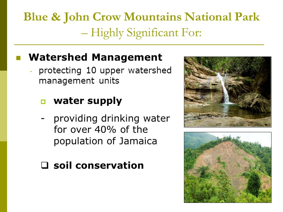 Blue & John Crow Mountains National Park – Highly Significant For: Watershed Management - protecting 10 upper watershed management units water supply